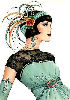 ART DECO-FLAPPER-CROSS-STITCH CHART ~GREEN ELEGANT FLAPPER -MUST SEE   Convert.