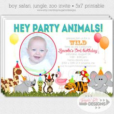 Zoo Jungle Safari Themed Party Animals Birthday by SugarTotDesigns, $12.00