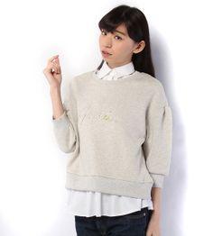 【PAGEBOY】襟付き刺繍ロゴ裏毛7分袖プルオーバー