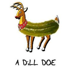 WHAT DO YOU GET WHEN YOU CROSS A PICKLE AND A DEER. A DILL DOE