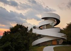 Staircases spiral around the core of a wedding chapel