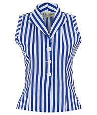 1950s Rizzo shirt sleeveless striped blue and white retro vintage pinup style