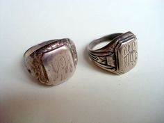 2 x Herren Ring Silber 835 Siegelring wohl Jugendstil / Art Deco alt antik