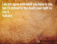 I do not agree with what you have to say, but I'll defend to the death your right to say it. Voltaire
