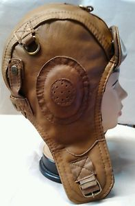 WWII Vintage style Leather Pilot,Aviator ,Motorcycle Helmet Hat Cap M size