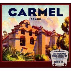 Spanish House Carmel brand label Canvas Art - (36 x 54)
