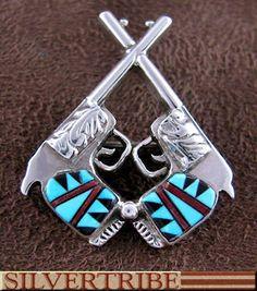 Native American Multicolor Inlay Pistols Pin TS56536