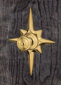 A fabulous mid-century star burst door handle