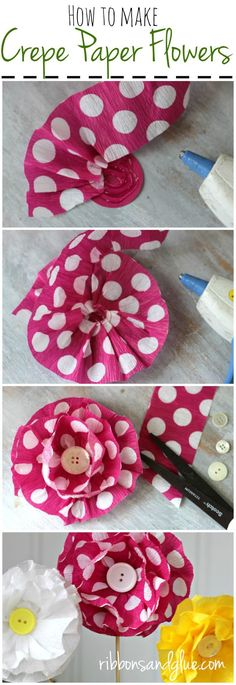 Step by step tutorial on how to make easy Crepe Paper Flowers. A simple and inexpensive craft idea to make for parties. Kids Crafts, Decor Crafts, Easy Crafts, Diy And Crafts, Craft Projects, Craft Ideas, Kids Diy, Handmade Flowers, Diy Flowers