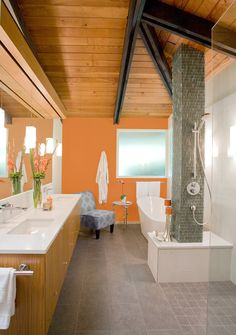 6 Unique Ways to use Bathroom Tiles: Waterfall Shower --> http://blog.hgtv.com/design/2015/02/25/6-beautifully-unique-uses-for-bathroom-tile/?soc=pinterest