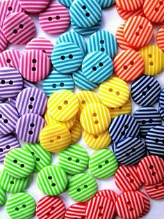 Buttons Droplet Bright Stripes by BigFish on Etsy Button Art, Button Crafts, Pot Pourri, World Of Color, Over The Rainbow, Happy Colors, Vintage Buttons, Rainbow Colors, Rainbow Png