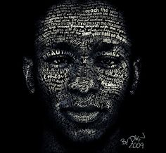 Typographic portrait by Dils, follow the link to see more: http://www.hongkiat.com/blog/28-excellent-examples-of-typography-portraits/