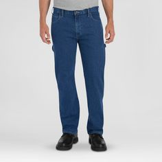 Dickies Relaxed Fit Straight Leg Flex Carpenter Jean Rinsed Indigo Stonewashed Indigo 44X30, Stonewash