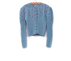 Vintage knitted Dirndl cable-knit vest, blue pink long sleeved wool cotton, handmade folk clothing with buttons, 1970s Oktoberfest fashion by Aerosvar
