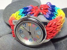 Rainbow Loom Wrist Watch Rainbow colors by JJJCrafts on Etsy, $23.00