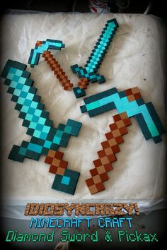IdiosynCRAZY!: Adventures in Crafting: Minecraft Diamond Pickax and Sword. Halloween costume for Matthew.