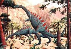 Two hundred and five million years:  the late Triassic Period:  Dinosaurs.  This one  - Plateosaurus -  was a 9 meter long herbivore weighing about 4 tonnes. It was about 4 meters tall. It evolved in the Late Triassic period and lived up till the Early Jurassic period.