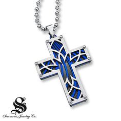 Mens Cross Necklace Diamond Accent  Stainless Steel