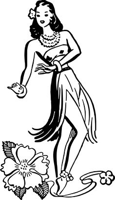 Hula dancer by @liftarn, Vintage hula dancer traced from http://thegraphicsfairy.com/retro-clip-art-hawaiian-ladies-dancers/, on @openclipart
