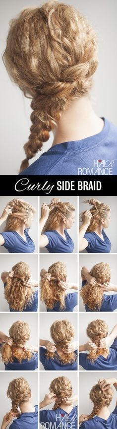 Curly Side Braid Hairstyle Tutorial for Long Hair