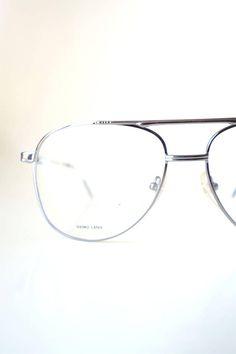 cd49bd9c990 Aviator Glasses for Men - 1980s Oversized Aviator Frames - Silver Wire Rim  Aviator Sunglasses - Deadstock Aviator Optical Frames