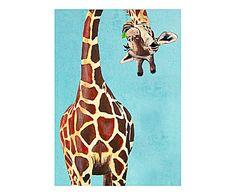 COCO DE PARIS: Affiche girafe avec feuille Papier, Bleu - A4