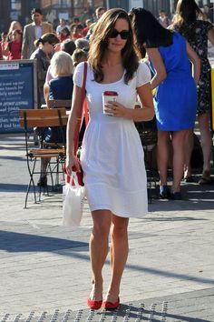 Pippa Middleton - chic Parisian flair, white dress, ballet flats