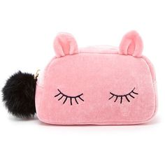 Forever 21 Sleeping Cat Velvet Makeup Bag found on Polyvore featuring beauty products, beauty accessories, bags & cases, make up bag, cosmetic purse, travel toiletry case, makeup bag case and purse makeup bag