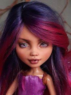170 GB Pfund am Sonntag 5 Juli um 17.00 Uhr britischer Zeit | Etsy Monster High, Golden Moustache, Howleen Wolf, Fuchsia Plant, Uk Time, Wig Making, Wig Cap, Custom Dolls, Purple Flowers