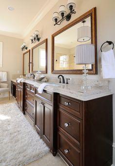.@Cambria Darlington bathroom countertops by Atlanta Kitchen, True Frame mirrors by Atlanta Glass & Mirror