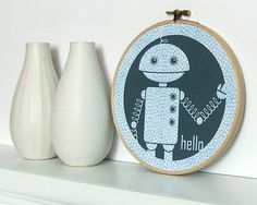 Robot Embroidery Hoop Wall Art  Navy Indigo Blue  by sweetharvey, $12.00