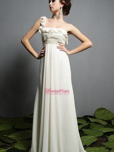 Chiffon Material Full Length Wedding Dress with Sexy One-shoulder Neckline Empire Waist and Beaded Embellishmen $211.99