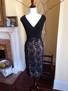 NWT Adrianna Papell Nordstrom BLACK LACE COCKTAIL DRESS WOMENS 6 WINTER WEDDING #AdriannaPapell #Sheath #Cocktail