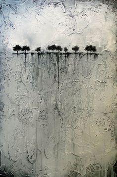 Peinture abstraite d'arbres à l'Horizon fortement par BrittsFineArt
