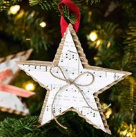 sheet music star ornament @Randi Greene Christmas Star Decorations, Diy Christmas Ornaments, Kids Christmas, Homemade Ornaments, How To Make Ornaments, Homemade Christmas, Xmas Ideas, Holiday Ideas, Appreciation