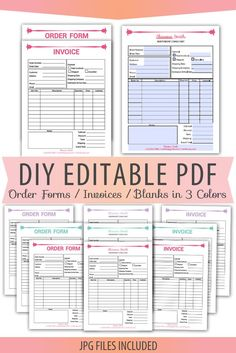 Diy Editable Pdf Tumblers Order Form Vinyl Decals Sheet
