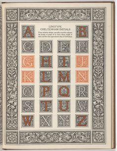 """Cheltenham initials, in """"The manual of linotype typography"""", prepared to aid users and producers of printing in securing greater unity and real beauty in the printed page, by William Dana Orcutt, and Edward E. Bartlett, published 1923 by Mergenthaler linotype company in Brooklyn, N.Y., page 165"""