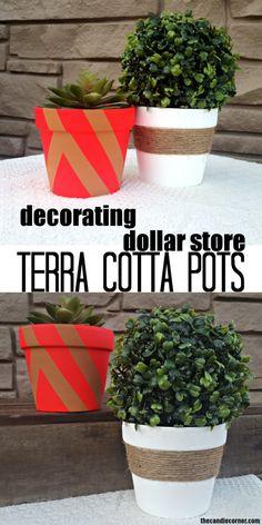 Transforming Boring Dollar Store Terra Cotta Pots To Pretty Decor!