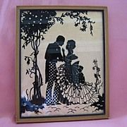 """Vintage Framed Reverse Painting Silhouette Picture """"Lovers"""""""