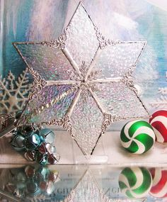 Clear Iridescent Ice  Tree Topper by MoreThanColors on Etsy, $45.00