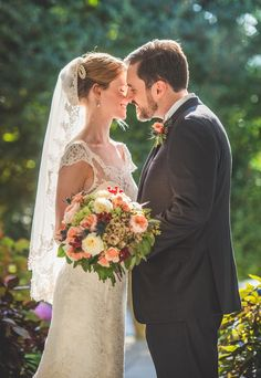 The lighting in the garden was perfect for this beautiful wedding portrait!   CJ's Off the Square, October Garden Wedding, Joe Hendricks Photography-078