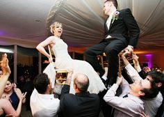 Bride and Groom lifted on the chairs   Hora - Jewish Dance Tradition   Newlywed couple    Wedding at the Riverview, Hastings-on-Hudson, NY   Press: The Photos from this wedding were published and showcased in Contemporary Bride Magazine Spring 2013   Photos by Anna Rozenblat Photography   New York Wedding Photographer