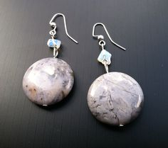 Blue Lace Agate and Moonstone Earrings by TripIntoLight on Etsy, $5.00