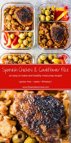 Spanish Chicken and Cauliflower Rice is an updated and healthy version of a personal favorite comfort food recipe. The cauli rice is super flavorful and loaded with Manzanilla Olives from Spain. Good Healthy Recipes, Healthy Meal Prep, Healthy Chicken Recipes, Paleo Recipes, Paleo Whole 30, Whole 30 Recipes, Spanish Chicken, Chicken Cauliflower, Kitchens