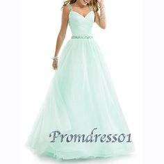 2015 elegant sweetheart straps beaded light blue chiffon modest floor-length prom dress for teens, ball gown, evening dress, prom gown #promdress #wedding