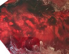 Fire & Ice - Metal Drink Coaster with Red Alcohol Ink
