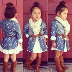 Polka Dot Top. Mooie outfit voor meisje jeans met cognac laarzen. Cool dress for girl.