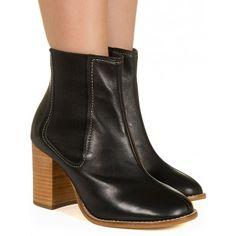 Chelsea boot preta com salto madeira Taquilla