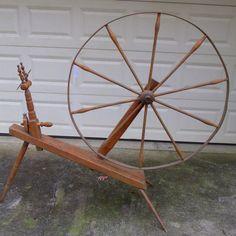 """Antique Primitive Spinning Wheel Vintage Great Wheel Walking Wheel 42"""" Wheel  #NaivePrimitive"""