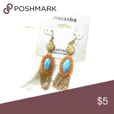 Fashion jewelry Lead free drop earrings in gold, coral and turquoise Natasha Jewelry Earrings